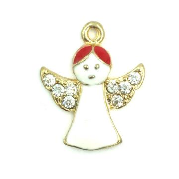 Christmas charm - angel - gold plated - white enamel with red hair - 16mm x 16mm